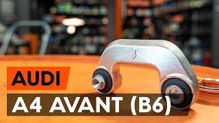 Oglejte si video vodič, kako zamenjati Šipka stabilizatorja na AUDI A4 Avant (8E5, B6)