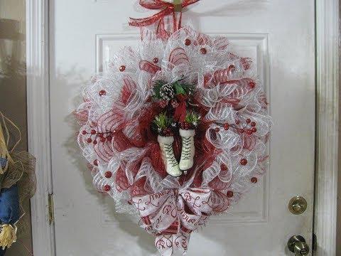 How To Make Carmen's ,Christmas Ice skating, Deco Mesh Wreath