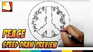 How to Draw a Peace Sign with Flowers - Speed Draw Preview - Art for Kids | BP