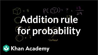 Addition rule for probability | Probability and Statistics | Khan Academy thumbnail