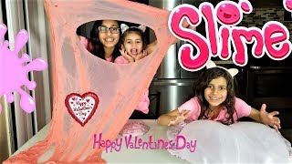 SLIME VALENTINES DAY!! sisters making 2 gallons of FLUFFY SLIME