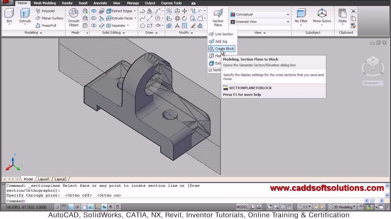 AutoCAD 3D Section Plane Tutorial - YouTube