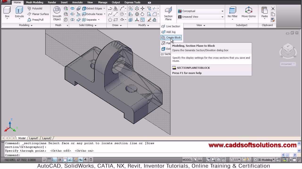 AutoCAD 3D Section Plane Tutorial