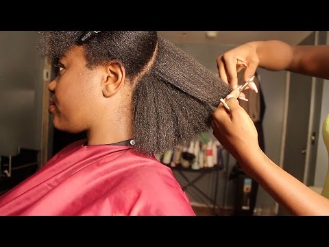 Natural Hair Salon Visit || Blowdry & Trim