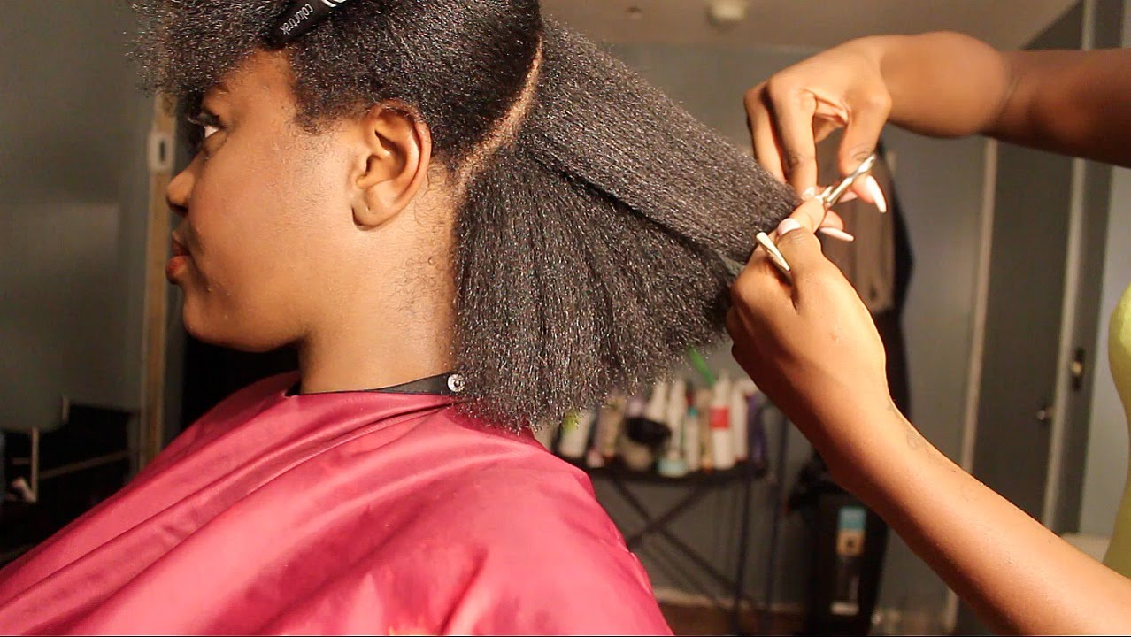 Natural Hair Salon Visit Blowdry Trim Youtube