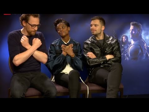 Letitia Wright, Tom Hiddleston & Sebastian Stan Cute times, Avengers press tour