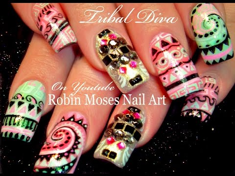 Tribal Nails | DIY Long Nail Art Design Tutorial