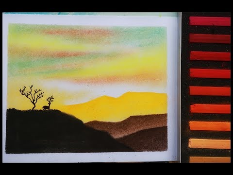Soft pastels painting tutorial of scenery