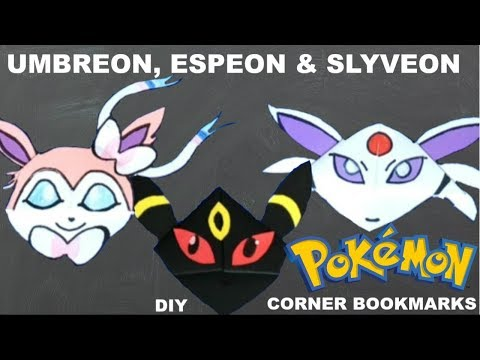 3 Pokemon Bookmarks - Umbreon, Espeon & Slyveon DIY - Origami Inspired - Pokemon Go