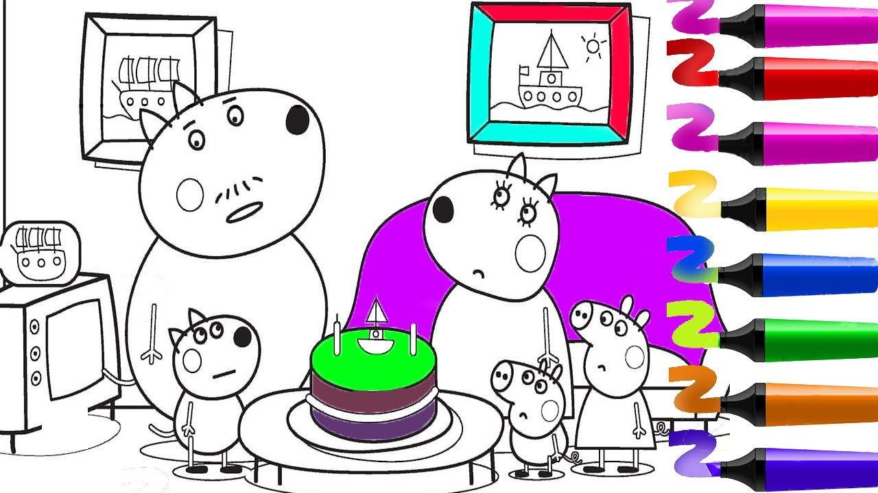 Coloriage Peppa Pig Coloriage Papa Pig Anniversaire Coloriage