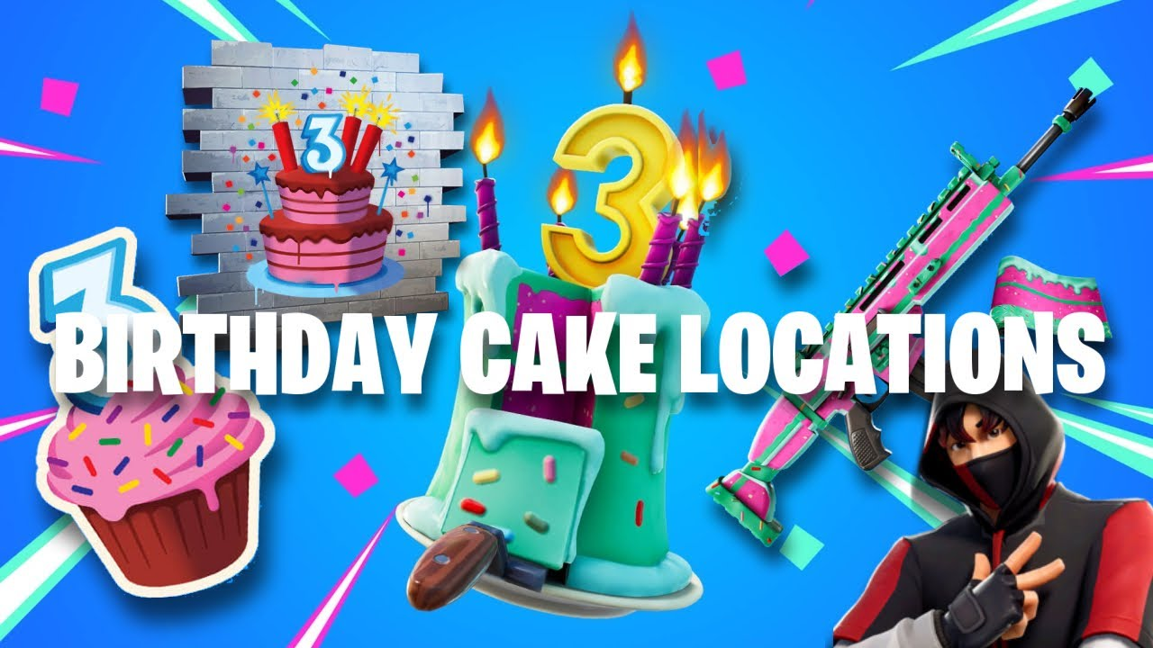 Fortnite Birthday Cakes All Locations Where Are The Birthday Cakes In Fortnite 2020 Youtube