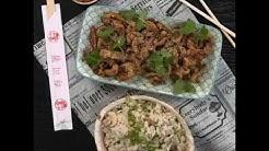 Kiinalaista inkivääripossua sweet & sour ja paistettua riisiä