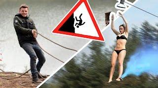 Building our Crazy Zipline | 120m Stahlseil übers Wasser spannen