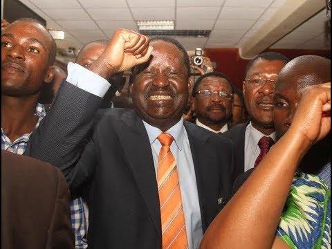 Raila Odinga celebrates after Supreme Court nullified Uhuru Kenyatta's win