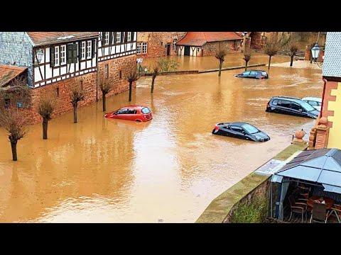 Due to the Sharp Warming, Büdingen went Under Water. FLASH FLOOD in Germany, Snowbreak / Disasters