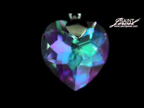 Iconic Heart Purple  001 VL Crystal Vitrail Light, Necklace, Rhodium Plating.