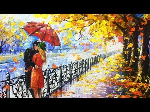 Romantic young couple kissing on riverside - Palette Knife Painting