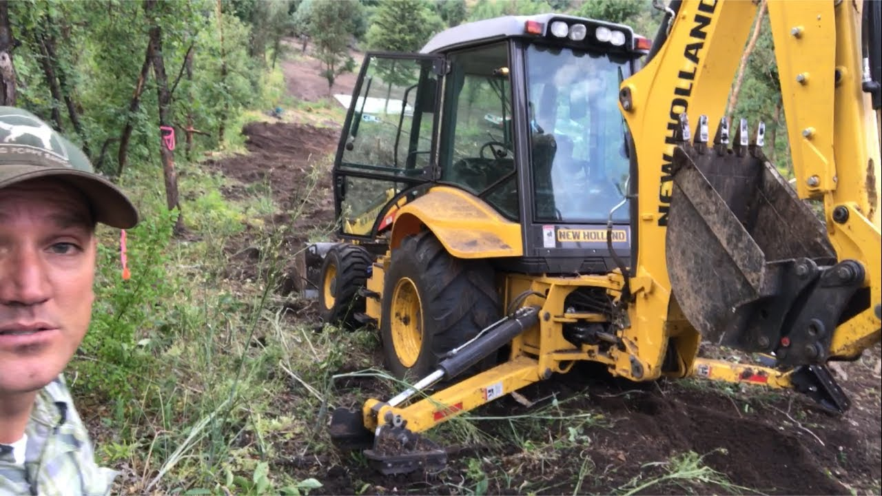 Using Backhoe To Clear Road To Spring  Red Poppy Ranch 07:25 HD