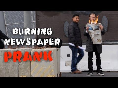 Burning Newspaper  PRANK in America 🇺🇸 l Julien Magic