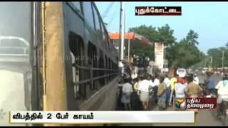 Bus runs into tea stall at Pudukkottai