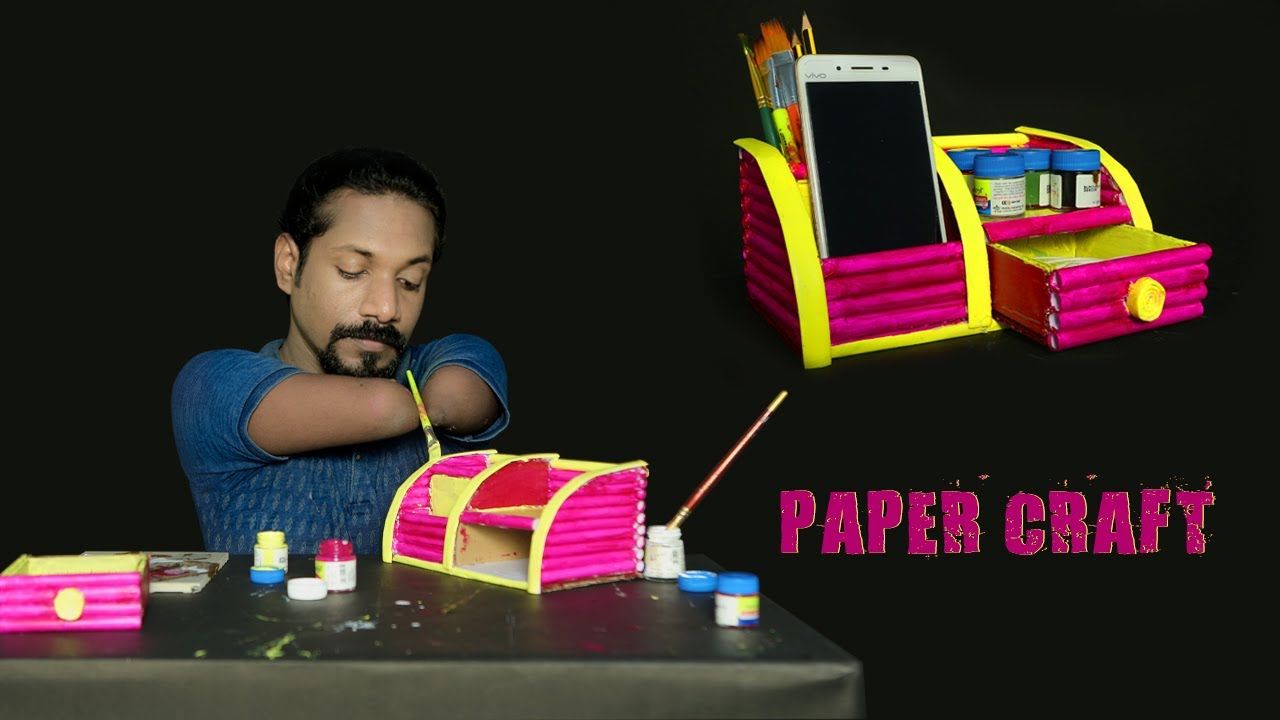 #papercraft Desk Organizer With Mobile And Pen Holder..
