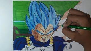 How to draw vegeta ssj blue     Dragon ball super  Estilo Yuya Takahashi   BIG box arts
