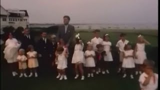August 2, 1963 - President John F.  Kennedy posing with his children and numerous nephews and nieces