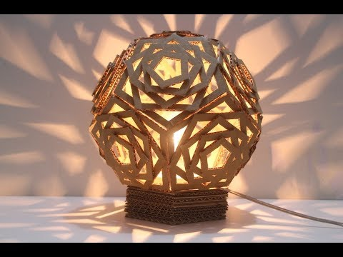 Make Beautiful Geometric Lampshade with Cardboard | diy crafts
