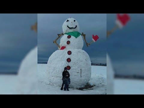 В Костроме слепили гигантского снеговика