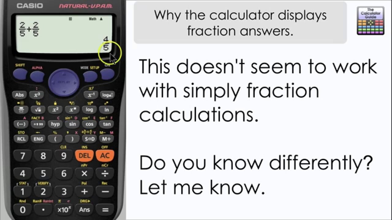 Why you can\'t get decimal answers straight away, you get a fraction ...