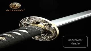 Auway samurai sword Dragon Tsuba Black scabbard Katana video