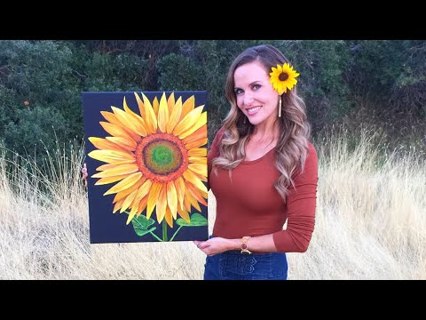 Sunflower Acrylic Painting Tutorial - By Artist, Andrea Kirk | The Art Chik
