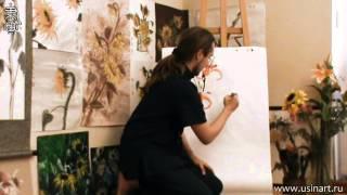Обучение рисования Лилии при помощи живописи у-син. Урок 2 ''Лилии техника рисования''