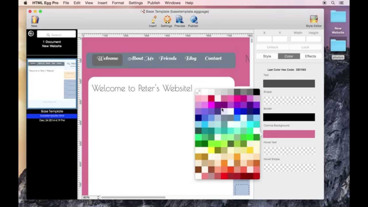 How to change web page background color using HTML Egg Pro for Mac ...