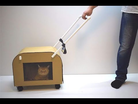 How to make a cat carrier on wheels made of cardboard