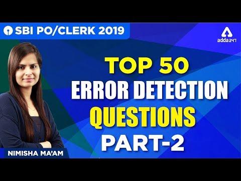 SBI PO/CLERK 2019 | Top 50 Error Detection Questions | Part 2 | English | Nimisha Ma'am | 3:00 PM