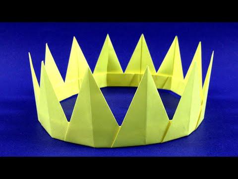 Как сделать корону из цветной бумаги. Оригами корона легко