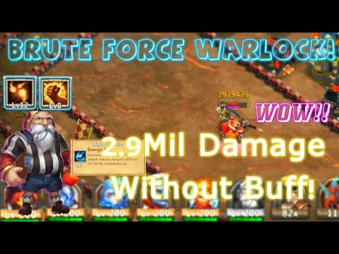 Brute Force Skill 12 Warlock Dealing 2.9Million Without Buff! Castle Clash