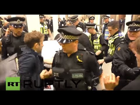Protestors block access to major London station