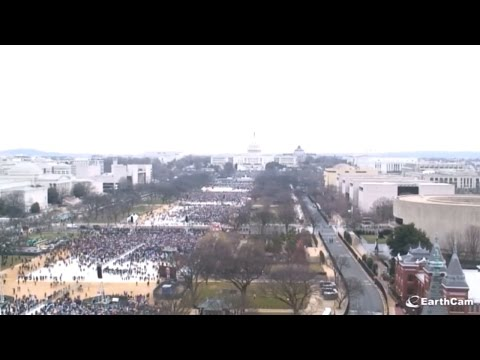 Time-lapse of Trump Inauguration Crowds (View Blocked When Camera Swings Around a Lot, 64x Speed)
