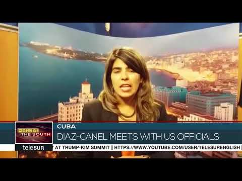 On Monday Cuban president Miguel Diaz Canel met with U-S senator Jeff Flake and former Google chief executive Eric Schmidt. It\'s the highest-level U.S. delegation to arrive in Cuba since he took office. Our Cuban correspondent Laura Prada has more...   https://videosenglish.telesurtv.net/video/723043/cubas-diaz-canel-meets-with-us-officials/