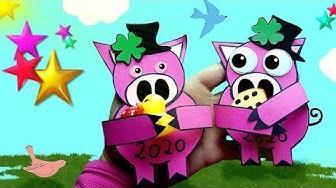 Glücksschwein basteln aus Papier 🐽 Silvester Glücksbringer