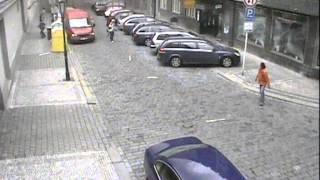 Взрыв в Праге - уникальное видео с камеры наблюдения