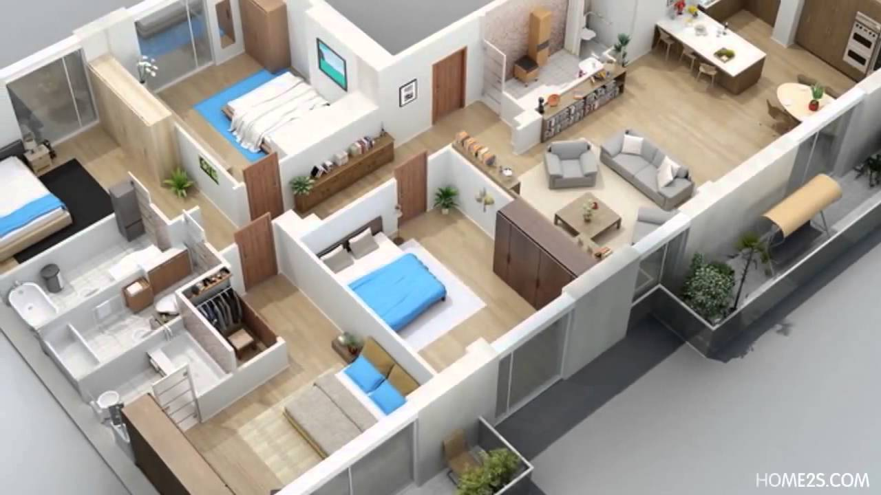 Apartment designs shown with rendered 3d floor plans youtube for 3d plans online