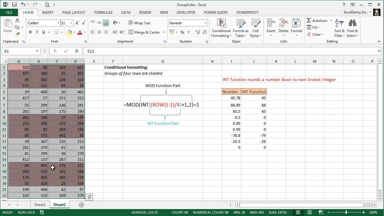 Excel Alternating Row Color Shading Alternating 4 Rows