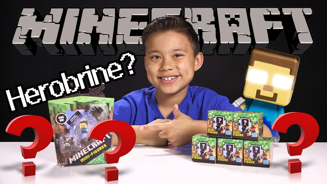 Toy R Us Toy Herobrine : Minecraft mini figure mystery box opening blind bag