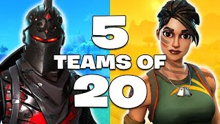 *NEW UPDATE* 5 TEAMS OF 20 GAME MODE!! (Fortnite Battle Royale)