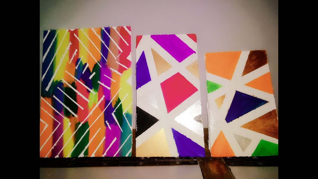 How To Make A Geometric Painting Ll Diy Painter S Tape Canvas Art