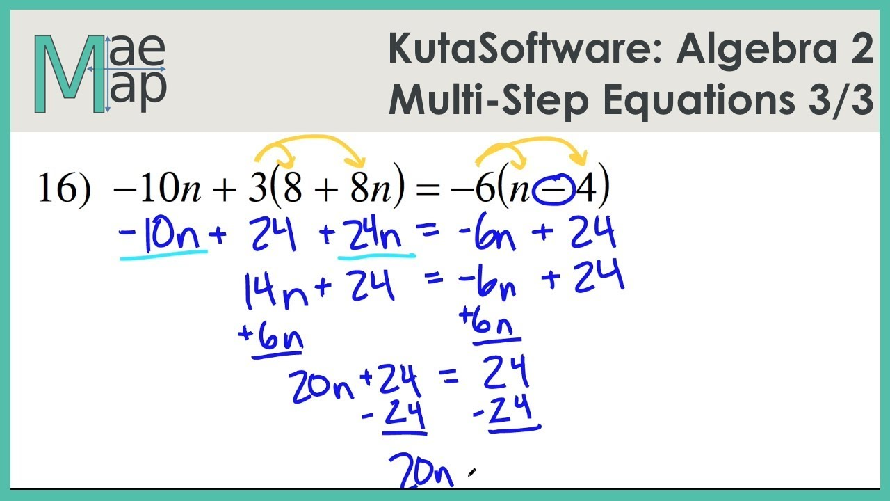 Kutasoftware Algebra 2 Multi Step Equations Part 3 Youtube