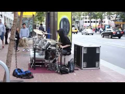 Awesome drummer Andrew Byrne performing in San Francisco streets [1 of 3]
